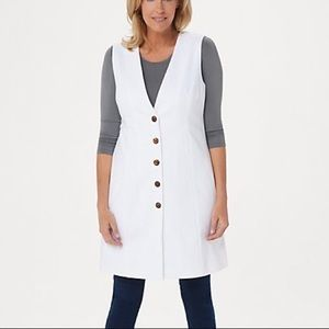 Lisa Rinna Collection Mid-Length Button Front Vest